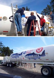 A GIANT CHINOOK DECAL GOES ON THE TANKER. (SAN JUAN PROPANE)