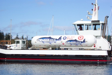 SAN JUAN PROPANE'S EYE-CATCHING NEW TANKER NOT ONLY HAULS GAS AROUND THE ISLANDS BUT URGES LOCALS TO JOIN A NATIONAL CONSERVATION ORGANIZATION. (SAN JUAN PROPANE)