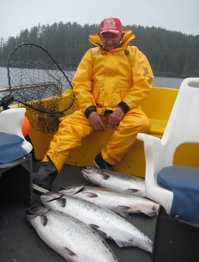 MIKE SOKOLSKI WITH PART OF THE CATCH AT LANGARA ISLAND LAST WEEK. (OAK BAY MARINE GROUP)