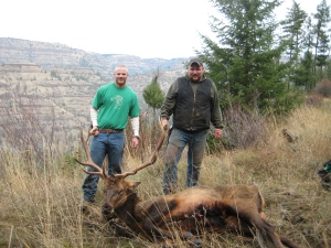CHAD PHELPS' 2008 BULL, TAKEN IN EASTERN OREGON WHILE HUNTING WITH HIS BROTHER PAUL (RIGHT) ON A SECOND-SEASON ANY-ELK TAG (HI-VIZ PHOTO CONTEST)