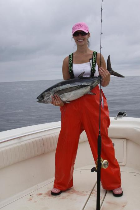 FORGET IT, SHE CAN OUTFISH YOU. (DEL STEPHENS/OREGON TUNA CLASSIC)