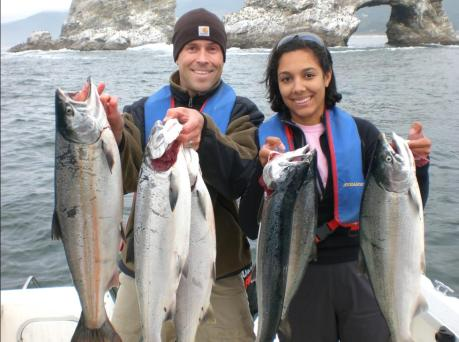 SIX COHO FOR MATT AND PAULA LITTLE, WHO WERE FISHING OFF TWIN ROCKS OUTSIDE TILLAMOOK BAY. (LAZER SHARP PHOTO CONTEST)