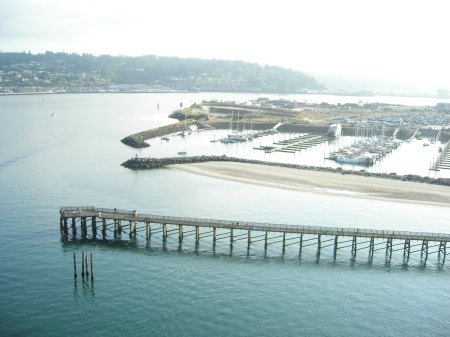 NOAA'S NEW DOCKS ARE PLANNED BEYOND THE JETTIES THAT MARK THE ENTRANCE TO THE MARINA. (ANDY WALGAMOTT)