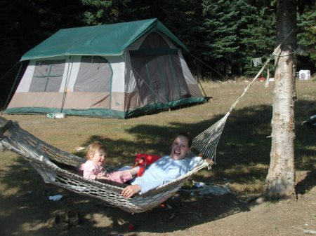 BIRTHDAY GIRL RUBY RELAXES AFTERWARDS WITH MOMMA IN THE HAMMOCK ... (RAINIER TENTS PHOTO CONTEST)