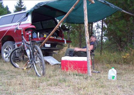 """SLEEPING IN THE BACK OF MY TRUCK GOT COLD. I COULD SURE USE A TENT,"" WRITES RICHARD HIXSON, SEEN HERE AT HIS 2008 MOOSE CAMP. (RAINIER TENTS PHOTO CONTEST)"